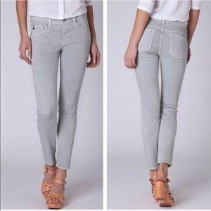 AG Stevie Ankle Slim Straight Gray Polka Dot Jeans
